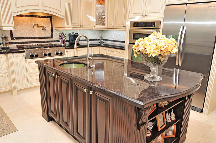 custom Island cabinets with corbels and posts