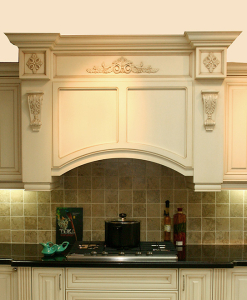 custom hood cabinet with corbels, posts and decorations