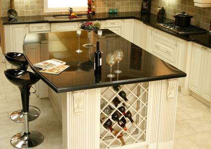 custom Island cabinets with corbels, posts and wine wrack