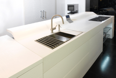 Modern kitchen cabinets with two drawers sink cabinet