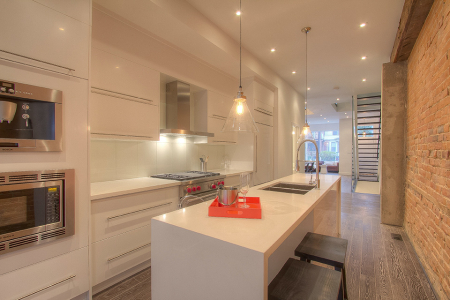Modern kitchen cabinets with high gloss flat style doors