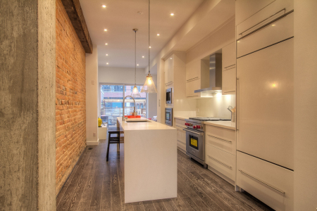 Modern kitchen cabinets with long handles