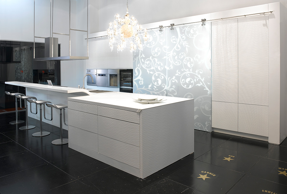 Modern kitchen cabinets with light wave German flat doors